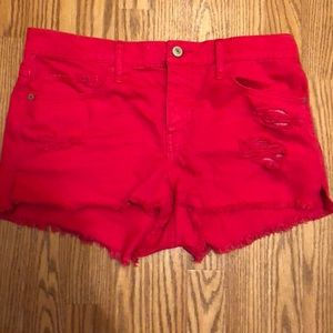 Abercrombie & Fitch pink ripped jean shorts